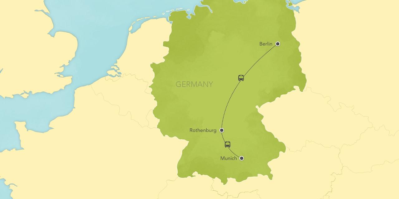 Itinerary map of Germany: Munich, Nuremberg, Rothenburg, Bamberg, Berlin 2018