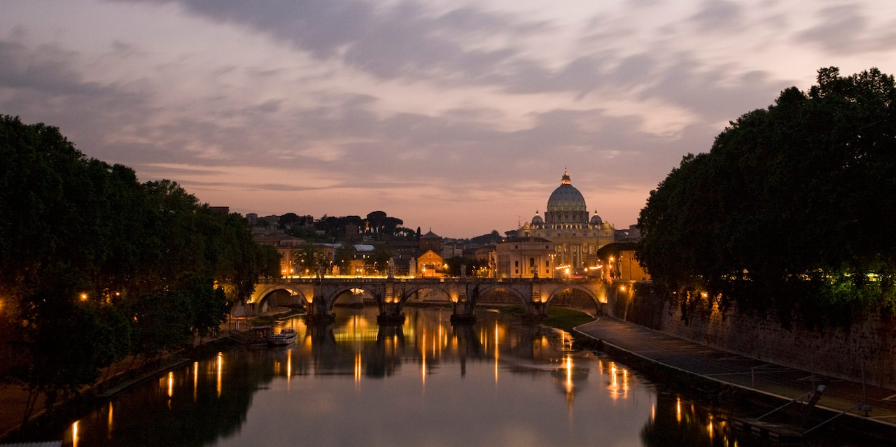 The River Tiber and St. Peter's Basilica at sunset