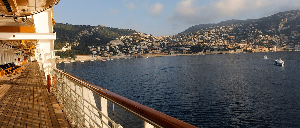 View of the Mediterranean from the deck of a cruise ship