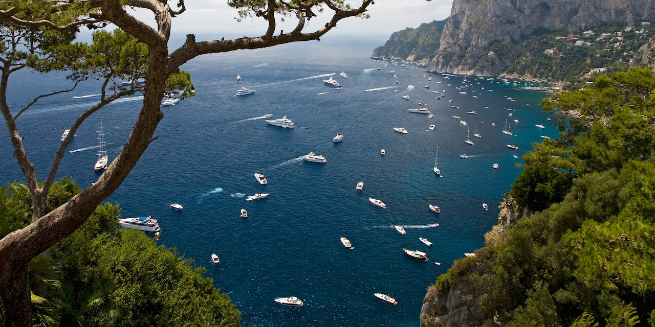 A array of boats cruise around a bay around Capri