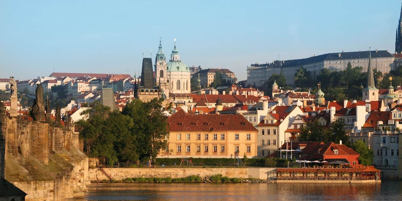 The city of Prague as seen from across the Vltava River