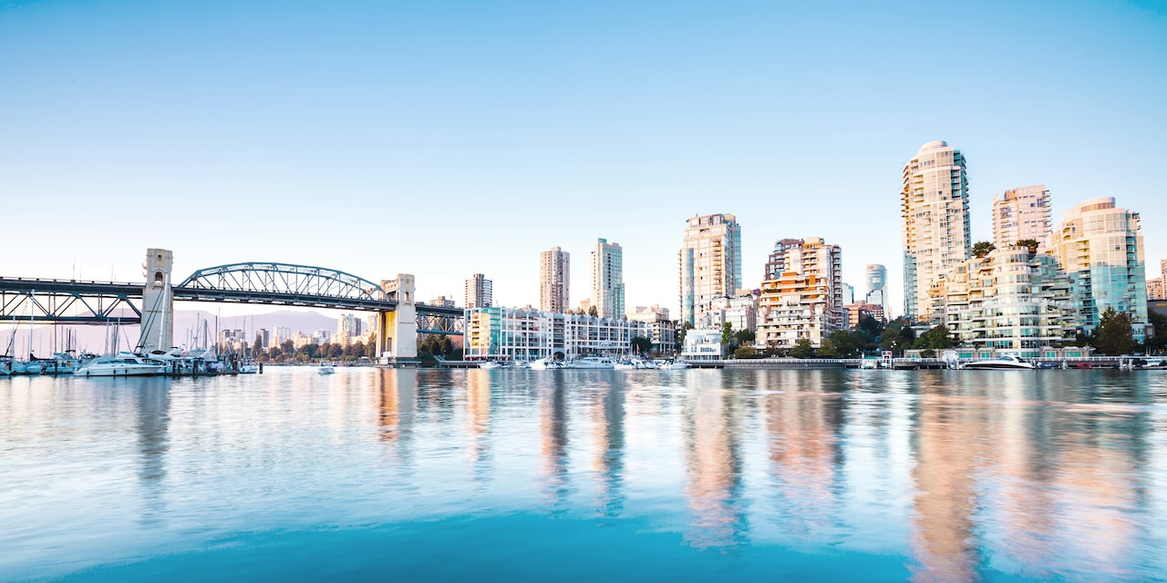 The city of Vancouver with the Burrard Street Bridge spanning False Creek