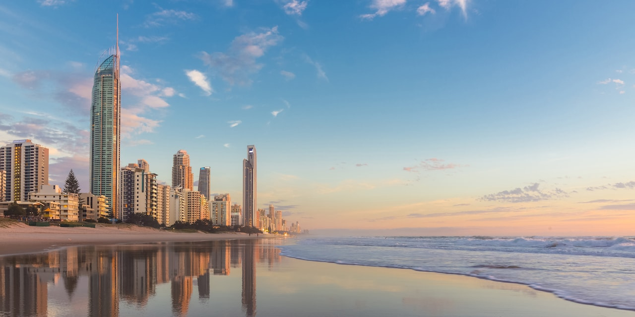 Skyscrapers line Australia's Gold Coast and the beach at high tide
