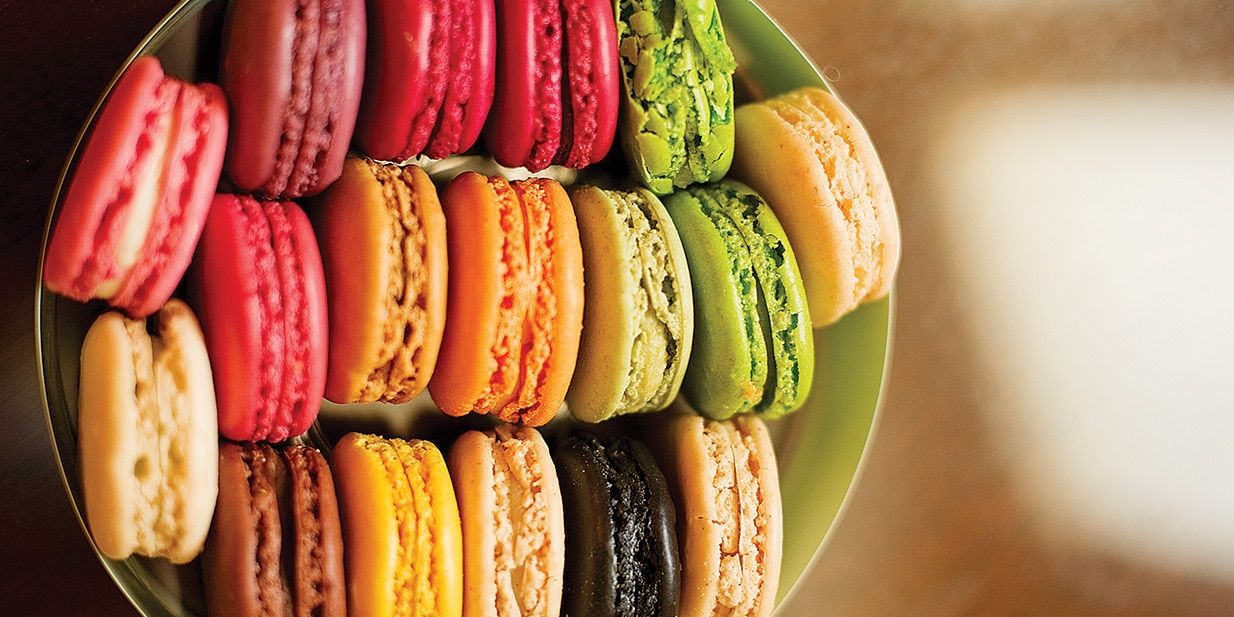 A bowl of macarons