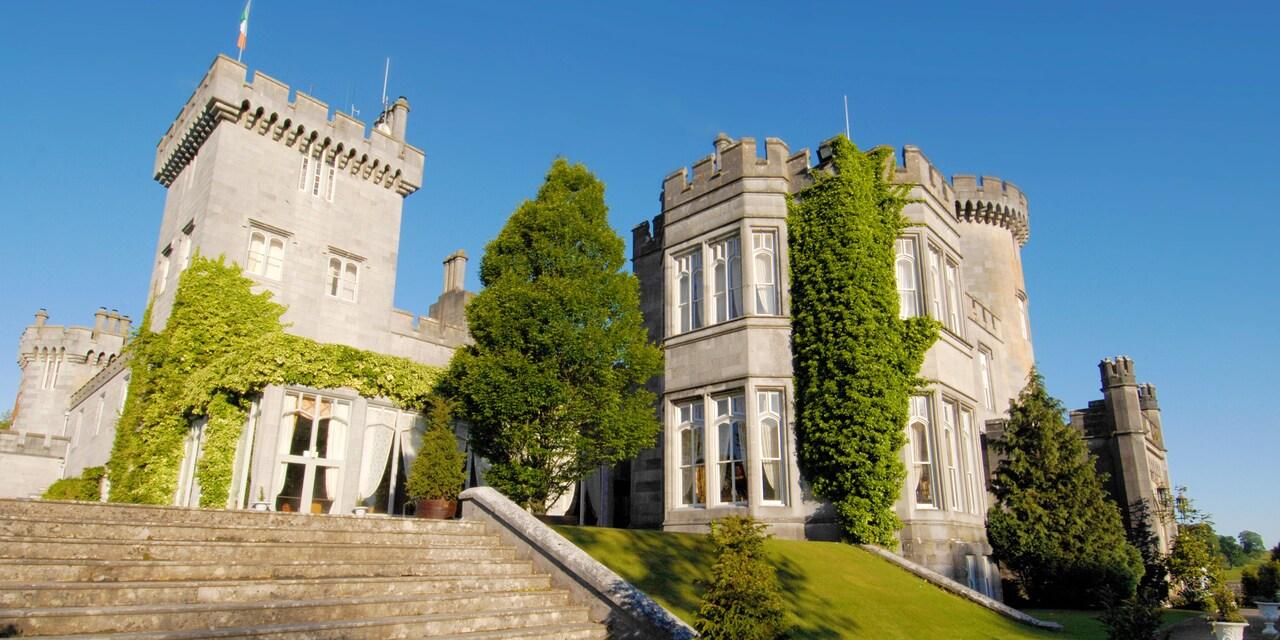 Stone steps lead up to Dromoland Castle