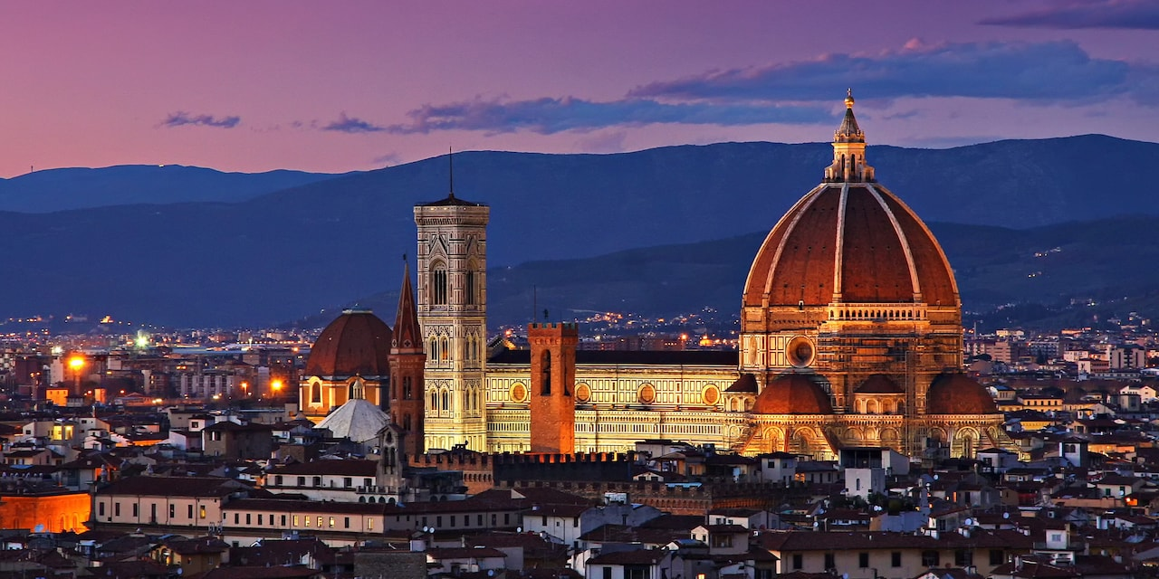 Italy's Cathedral of Santa Maria del Fiore, the Duomo, at night