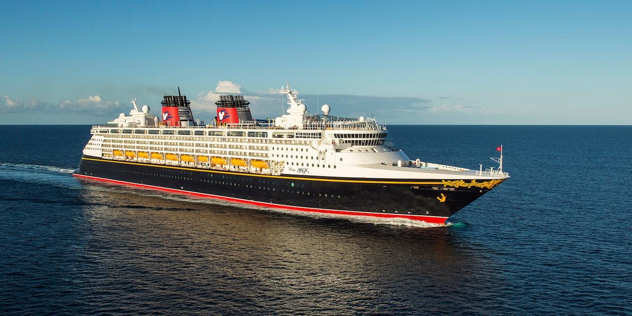 The Disney Magic cruise ship at sea