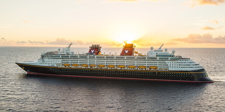 The Disney Magic Cruise Ship cruising in open waters
