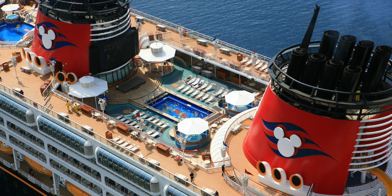 The upper deck and swimming pool of the Disney Magic Cruise Ship