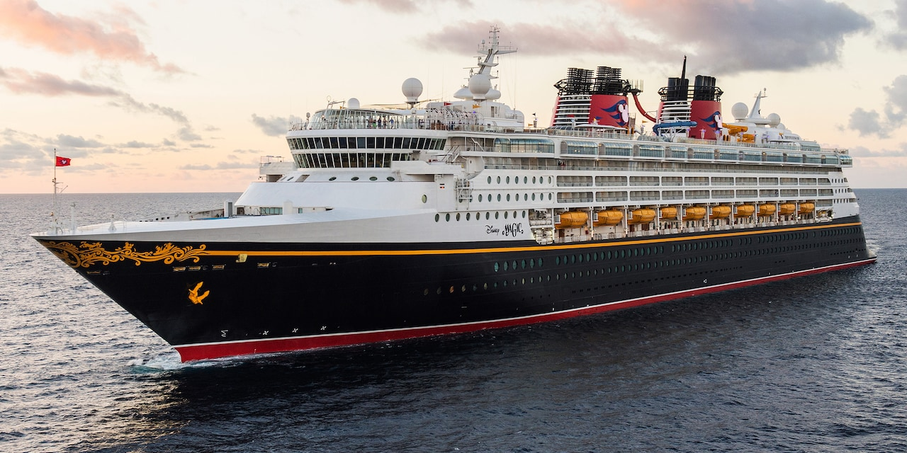 The Disney Magic Cruise Ship cruises along calm waters
