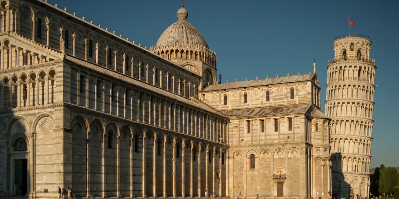 The domed roofs and circular windows of the Duomo in Florence, Italy