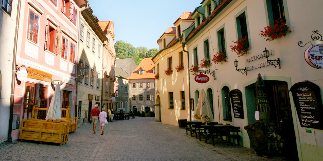 A narrow European street, made of cobblestones and lined with small shops