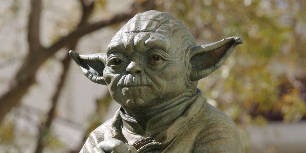 The top of a bronze statue of Yoda from the 'Star Wars' movies