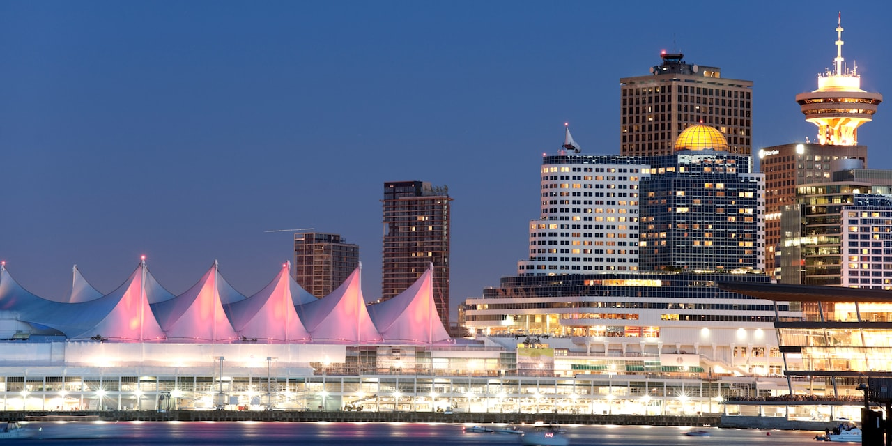 The Vancouver skyline at night