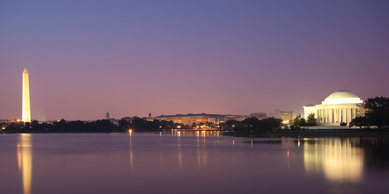 The Washington Memorial and Jefferson Memorial in Washington D.C. at night