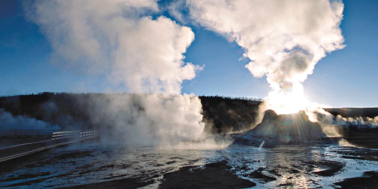 A geyser erupts