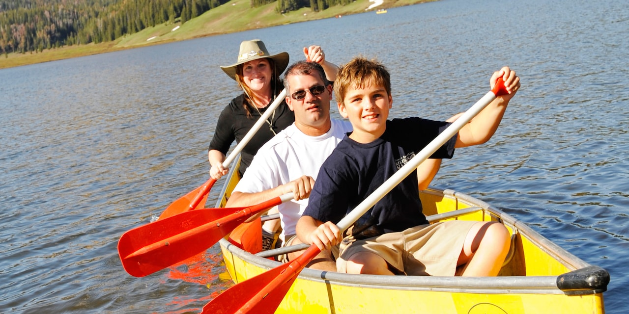 A boy and 2 adults paddle down a river in a rowboat