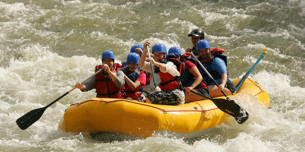 Adventurers rafting on the Tenorio River