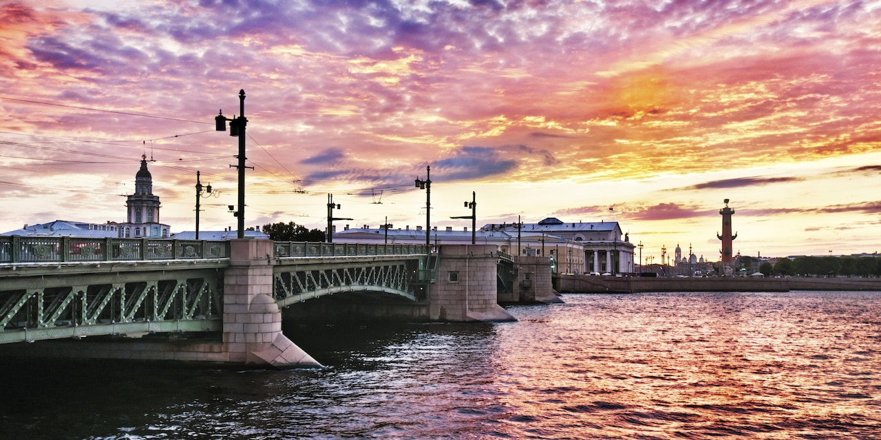 A bridge spans the waterways of St. Petersburg