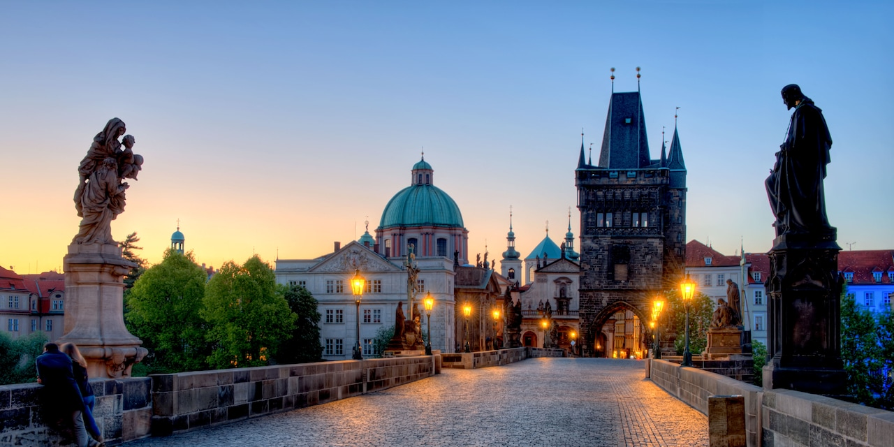 The Charles Bridge with statues on either side in Prague, Czech Republic