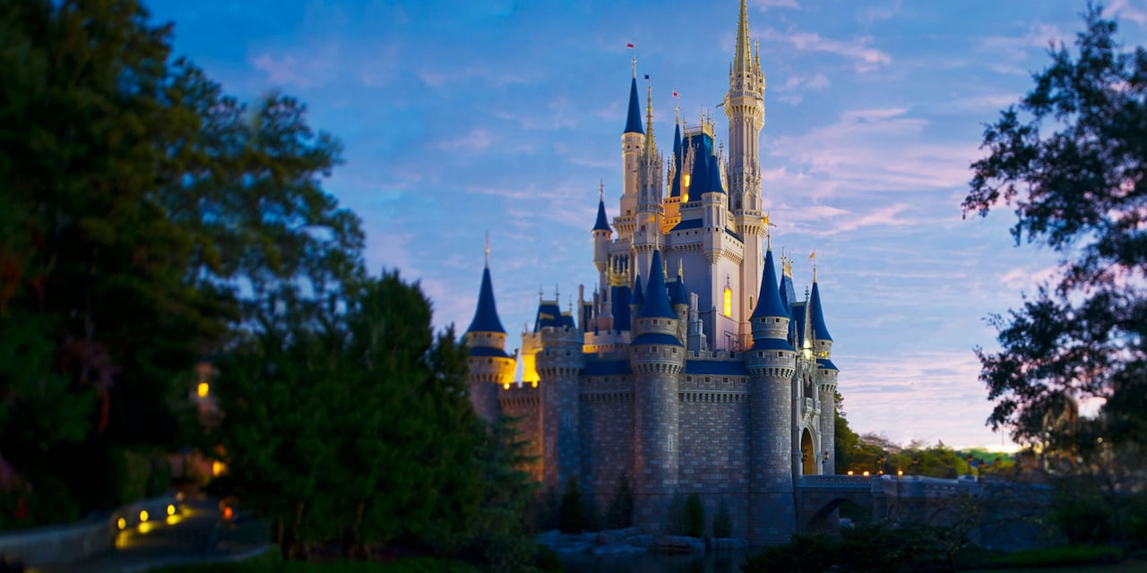 Serene and stately Cinderella Castle at sunrise