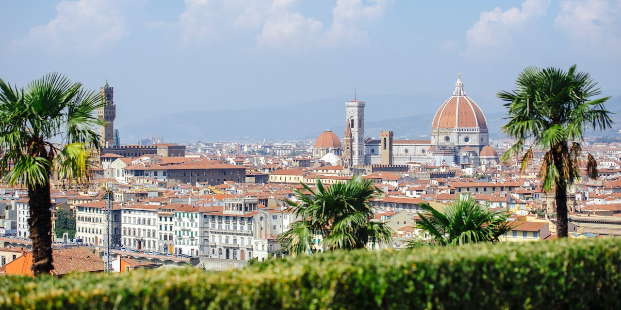 The Florence skyline dominated by Santa Maria del Fiore Cathedral and the Duomo
