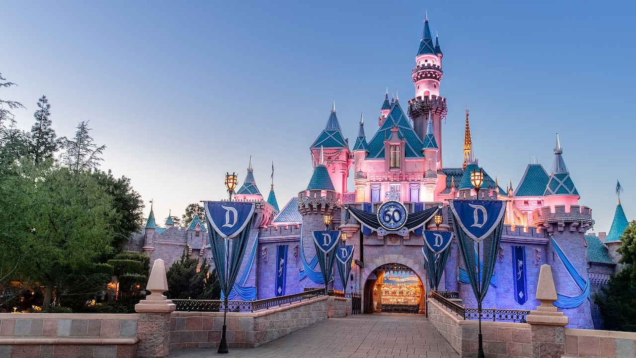 Sleeping Beauty Castle adorned with banners and a sign that reads '60'