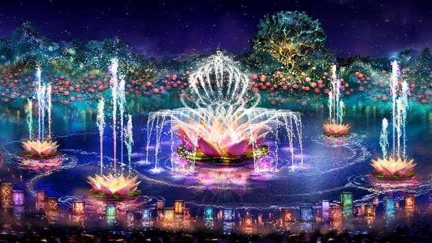 An artist's rendition of a tiger in the Rivers of Light nighttime show, next to the Tree of Life