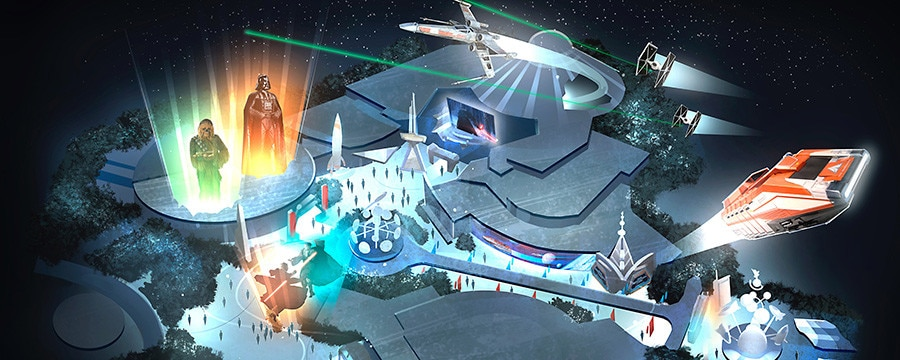 Concept art for Season of the Force that depicts exciting Star Wars themed overlays and additions