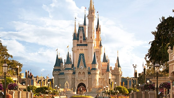 The iconic Cinderella Castle in Magic Kingdom at Walt Disney World Resort in Florida