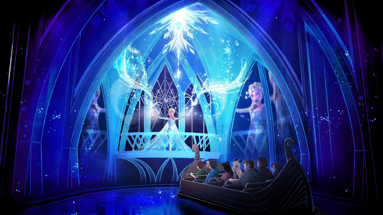 An artist's rendition of the attraction Frozen Ever After at Epcot.