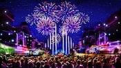 Arte conceptual de los fuegos artificiales con tema de Pixar y las proyecciones sobre Main Street, U.S.A. en Disneyland Park
