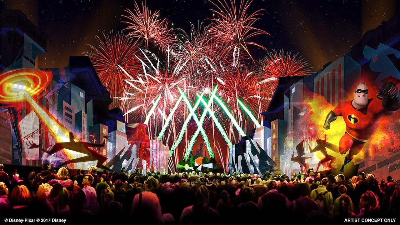 Un dibujo de un espectáculo de fuegos artificiales con la imagen de Mr. Incredible saltando en el aire