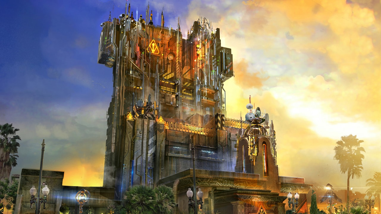 Una representación artística de la atracción Guardians of the Galaxy Mission: Breakout!