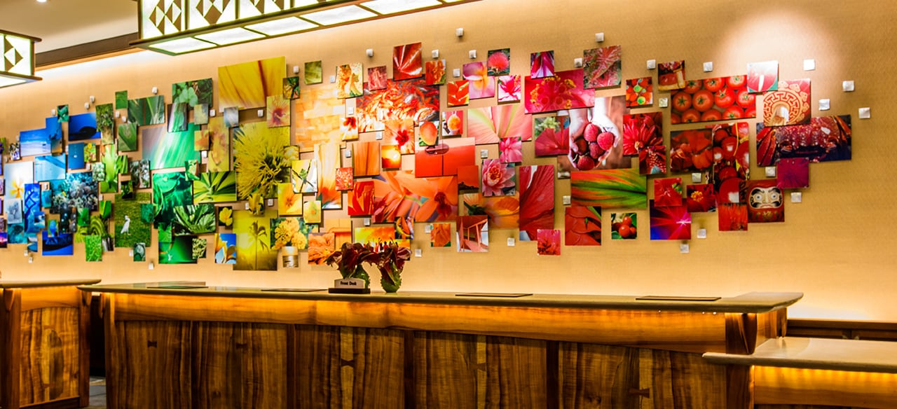 The Front Desk at Aulani features a large display of artwork