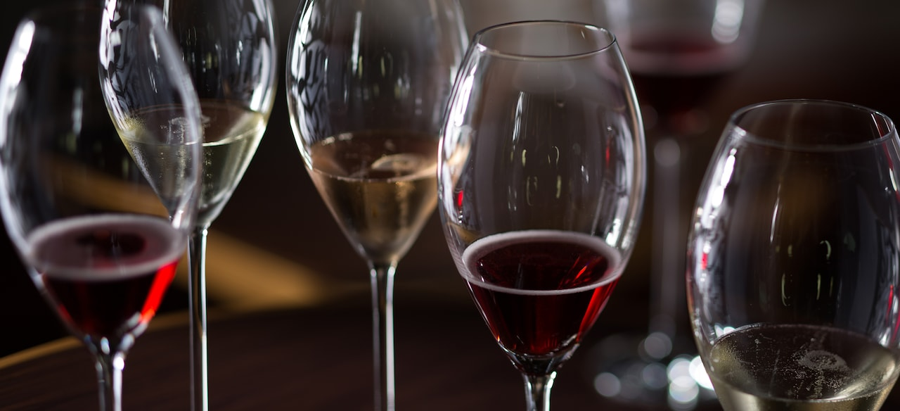 Several glasses of wine: red, white and rose