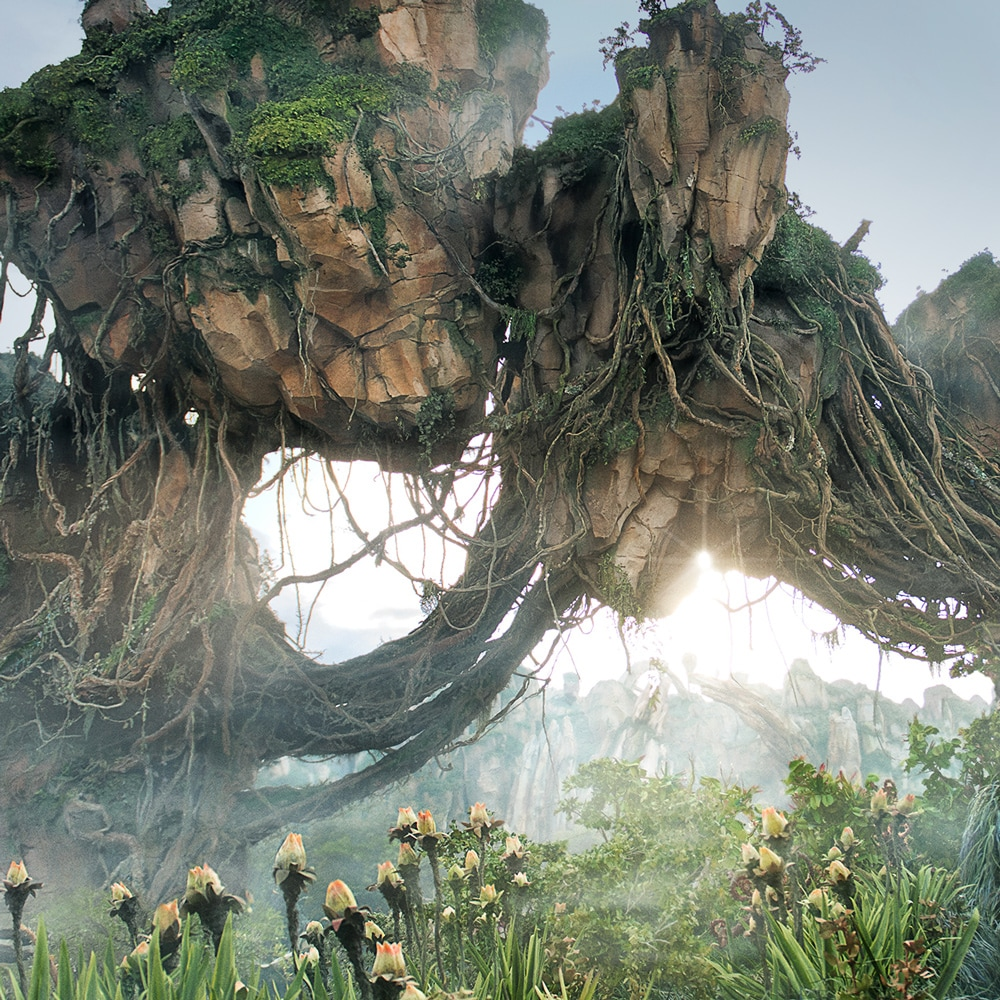 Magnificent floating mountains rise skyward in the Valley of Mo'ara at Pandora – The World of Avatar