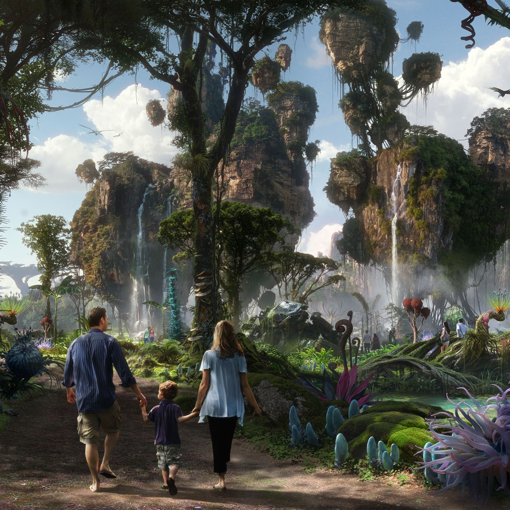 Conceptual artwork featuring a mother, father and son as they walk into Pandora: The World of Avatar