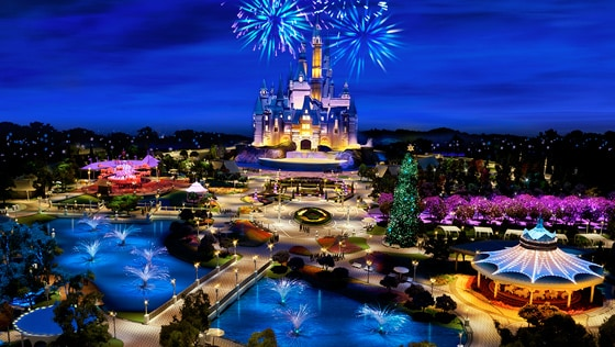 A painting of Shanghai Disneyland in China at night with fireworks over Enchanted Storybook Castle