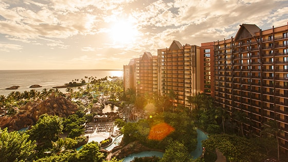 The hotel and pool area of Aulani, A Disney Resort & Spa in Ko Olina, Hawaii