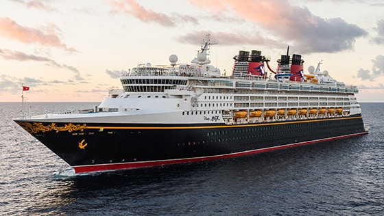 One of the Disney Cruise Line ships at sea