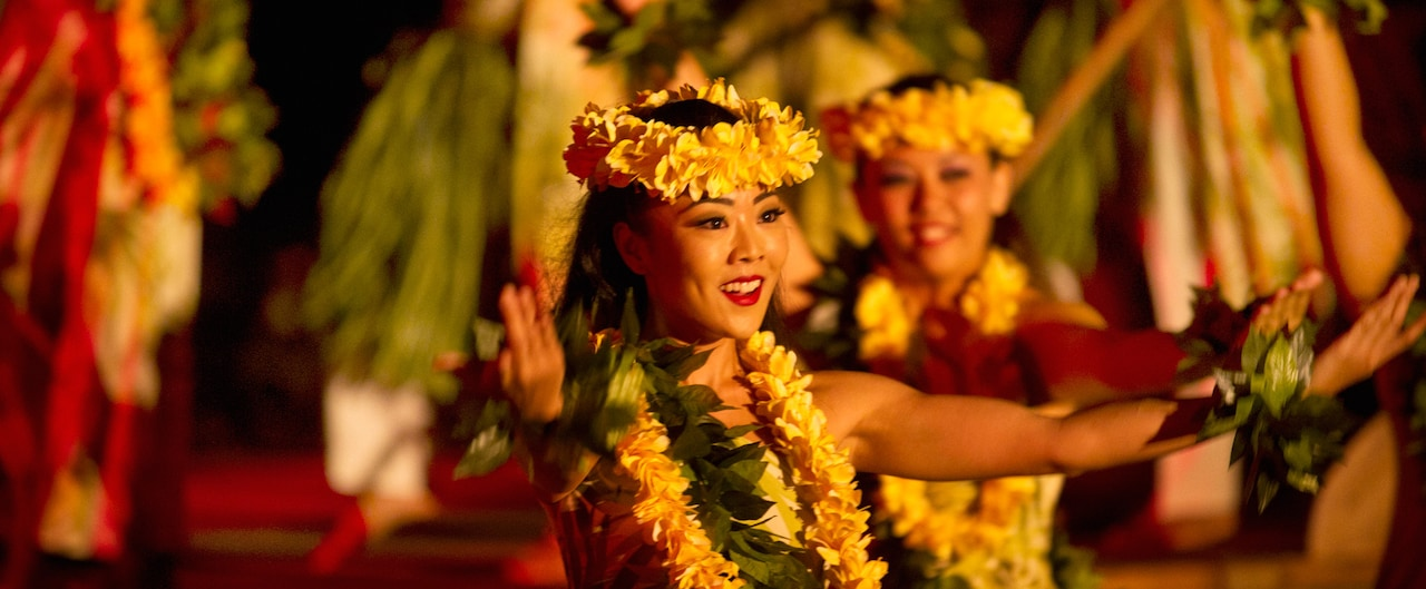 伝統的なハワイアンドレスに花のレイとヘッドバンドを身につけて踊る 2 人の女性フラダンサー