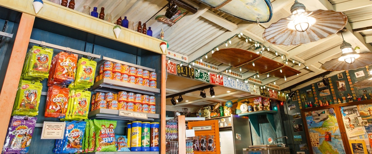 A wall display of candy, nuts, pretzels and chips at Lava Shack