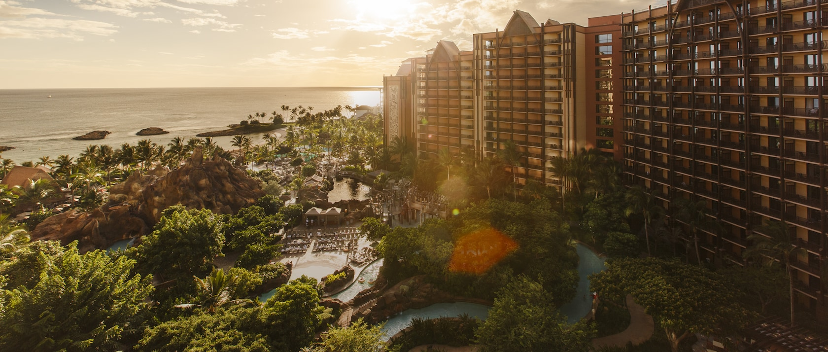 The Aulani Resort and the Pacific Ocean at sunset