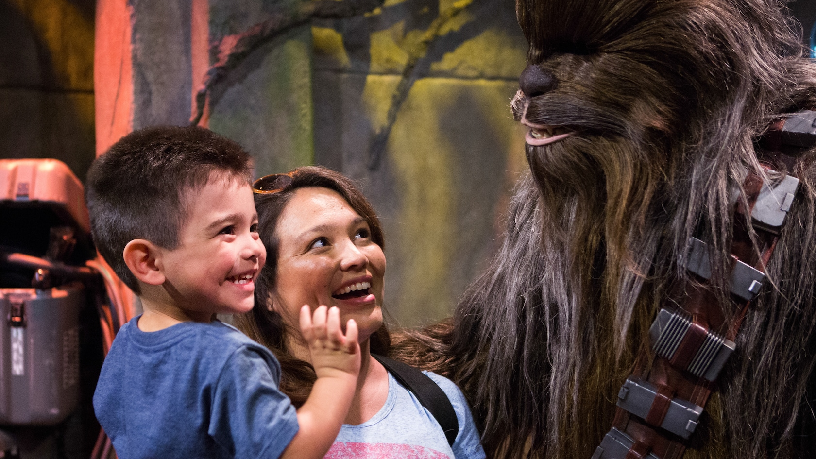 A Young Male Guest And His Mother Smiling While They Meet Chewbacca At Disney S Hollywood Studios