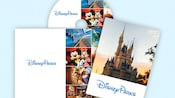 The Disney Parks Vacation Planning DVD, in its sleeve which features an image of a Disney Castle, next to a picture of a young girl with Mickey Mouse