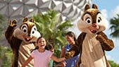 Chip n' Dale and friends in front of Epcot Center in Orlando, Florida