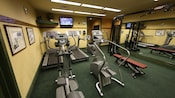 Treadmills, stairmasters and other workout equipment in the fitness room