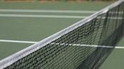 Close-up of a tennis court net