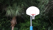 A basketball hoop with trees in the background